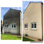 House before and after being pressure washed