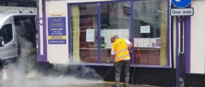 Pressure washing in Whitehaven town centre