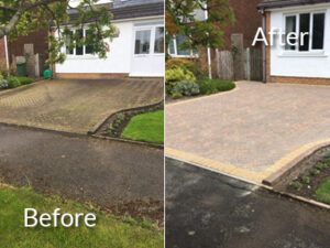 Domestic driveway pressure washed in Cockermouth