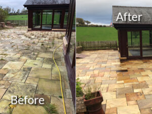 Patio before and after treatment and pressurewashing